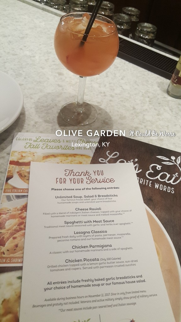 Seeing all of the doctors another month in my crohn s journey olive garden veterans day for Olive garden veterans day menu 2017