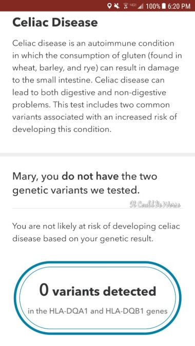 Seeing All of the Doctors - Another Month in My Crohn's Journey - 23andMe Celiac test Mary Horsley